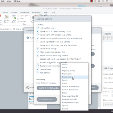 Changing Dictionaries in Articulate Storyline 360