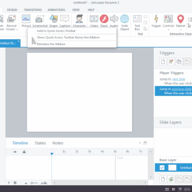 Quick Access Toolbar in Articulate Storyline